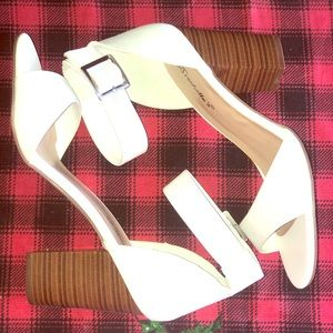 White Ankle Strap Open Toe Heels Never Worn Size 9